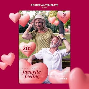Modelo de pôster de casal romântico sênior