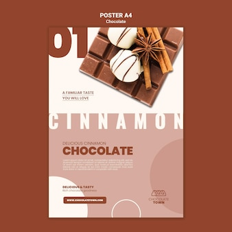 Modelo de pôster de chocolate delicioso