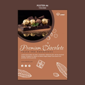 Modelo de pôster de chocolate premium
