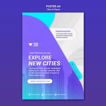 Modelo de pôster de cidades e lugares