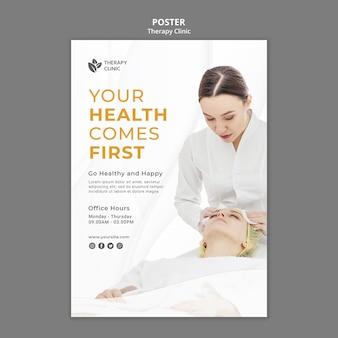 Modelo de pôster de clínica de terapia