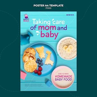 Modelo de pôster de comida saborosa para bebês