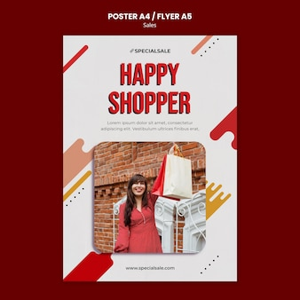 Modelo de pôster de comprador feliz