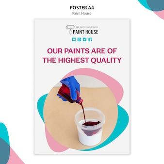 Modelo de pôster de conceito de casa de pintura