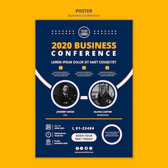 Modelo de pôster de conceito de conferência de negócios