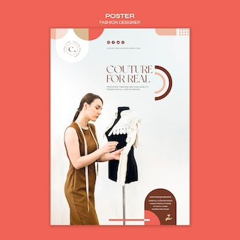 Modelo de pôster de conceito de designer de moda