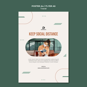 Modelo de pôster de conceito de distância social