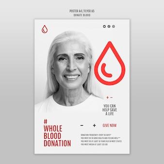 Modelo de pôster de conceito de doação de sangue