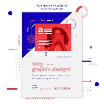 Modelo de pôster de conceito de escola de design gráfico