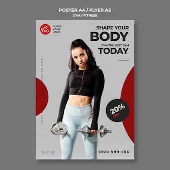 Modelo de pôster de conceito de fitness