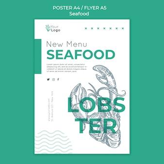 Modelo de pôster de conceito de frutos do mar