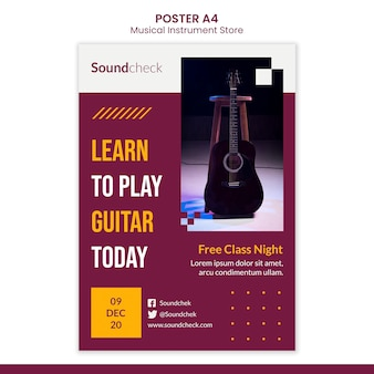 Modelo de pôster de conceito de instrumento musical