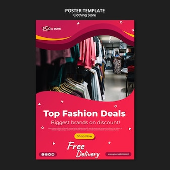 Modelo de pôster de conceito de loja de roupas