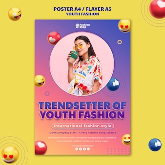 Modelo de pôster de conceito de moda jovem