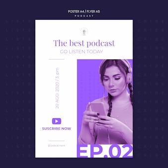 Modelo de pôster de conceito de podcast