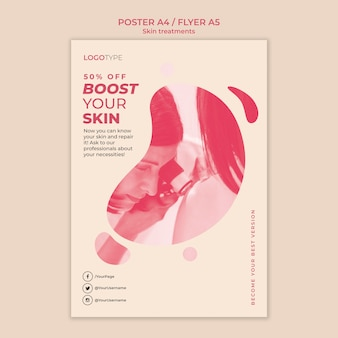 Modelo de pôster de conceito de tratamento de pele