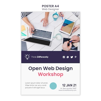 Modelo de pôster de conceito de web design