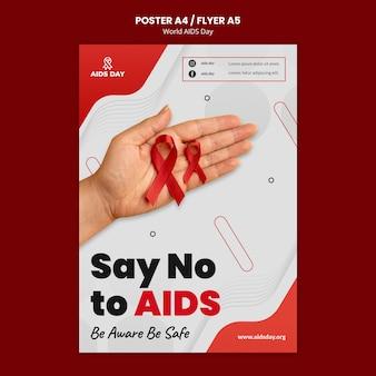 Modelo de pôster de conscientização do dia mundial da aids