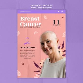 Modelo de pôster de conscientização sobre câncer de mama