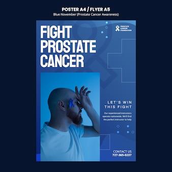 Modelo de pôster de conscientização sobre o câncer de próstata em tons de azul