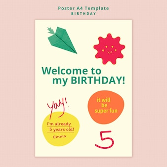 Modelo de pôster de convite de aniversário