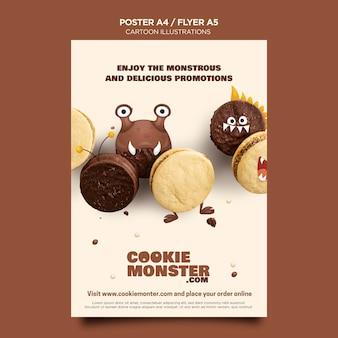 Modelo de pôster de cookies com ilustrações de desenhos animados