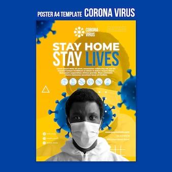 Modelo de pôster de coronavírus para ficar em casa