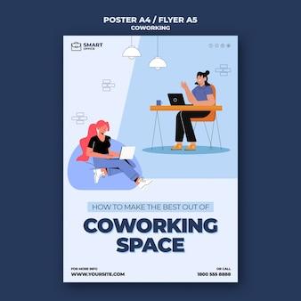 Modelo de pôster de coworking