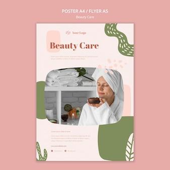 Modelo de pôster de cuidados de beleza