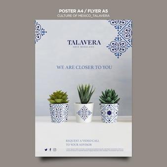 Modelo de pôster de cultura mexicana talavera