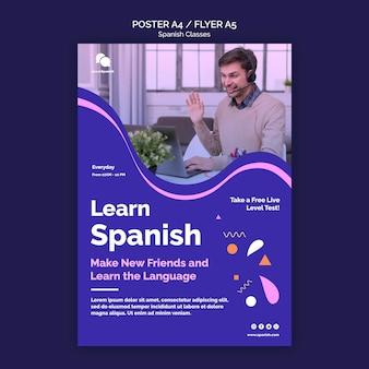 Modelo de pôster de curso de espanhol
