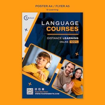 Modelo de pôster de cursos de idiomas