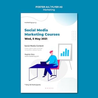 Modelo de pôster de cursos de marketing em mídia social