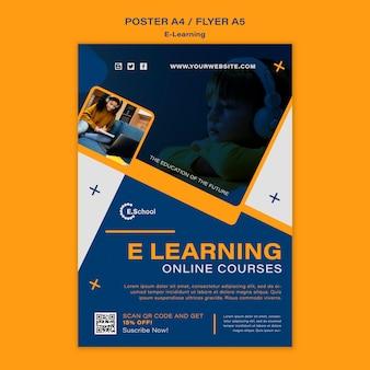 Modelo de pôster de cursos online de e-learning