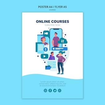 Modelo de pôster de cursos online