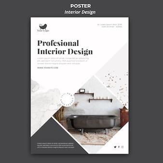 Modelo de pôster de design de interiores
