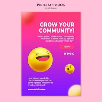 Modelo de pôster de design emoji