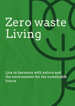 Modelo de pôster de desperdício zero psd em tom de terra