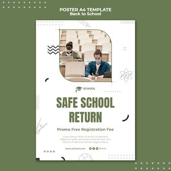 Modelo de pôster de devolução de escola segura