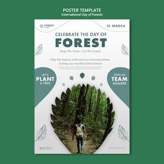Modelo de pôster de dia de florestas criativas com foto