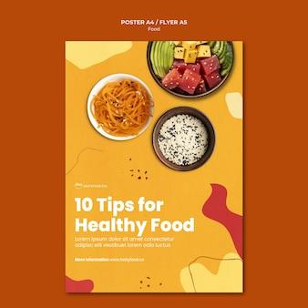 Modelo de pôster de dicas de alimentação saudável