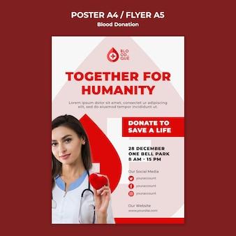 Modelo de pôster de doação de sangue