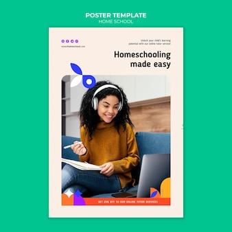 Modelo de pôster de educação em casa