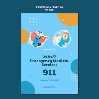 Modelo de pôster de emergência médica