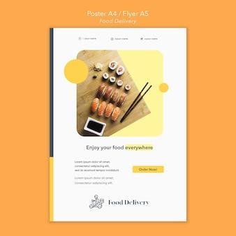 Modelo de pôster de entrega de comida