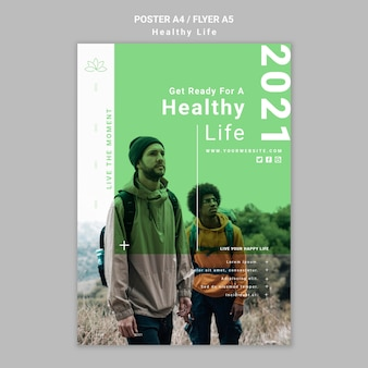 Modelo de pôster de estilo de vida saudável