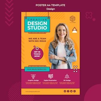 Modelo de pôster de estúdio de design
