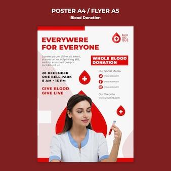 Modelo de pôster de evento de doação de sangue