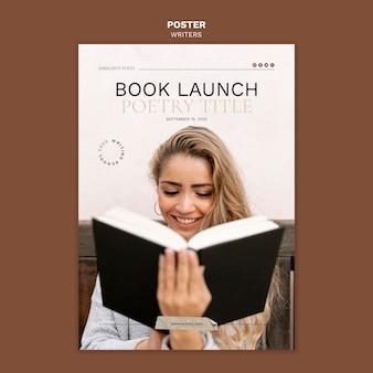 Modelo de pôster de evento de lançamento de livro