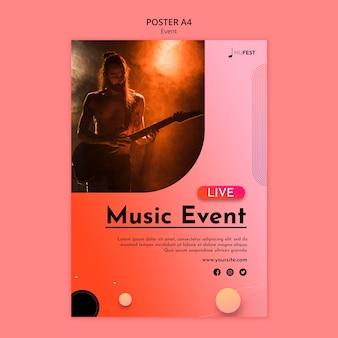 Modelo de pôster de evento musical